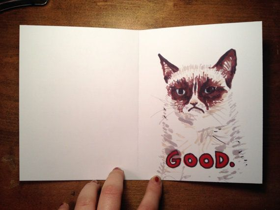 Grumpy Cat Wants to be Your Valentine  HandDrawn Funny Cat Card