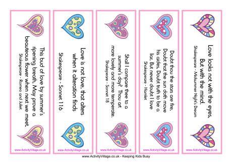 Valentine Bookmarks Shakespeare Valentines Bookmarks