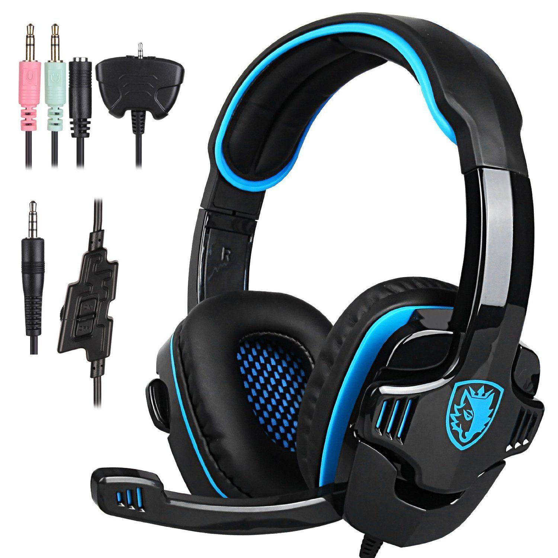 Stereo Gaming Headphone Sades Sa708gt Ps4 Gaming Headphone With Microphone Blue Ad Headphone Affiliate Sades Gaming Headphones Gaming Headset Headset