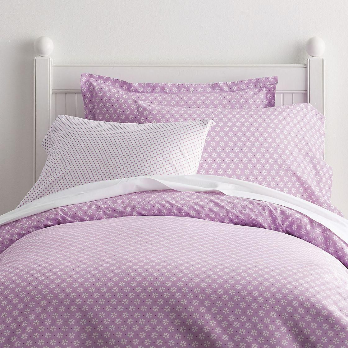 Daisy Lilac Dot Percale Bedding Duvet Cover Bed Duvet Covers