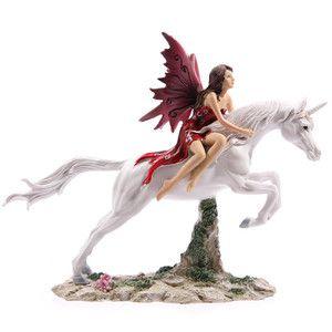 Gothic Fairy Riding Leaping Unicorn beautiful ornament figurine