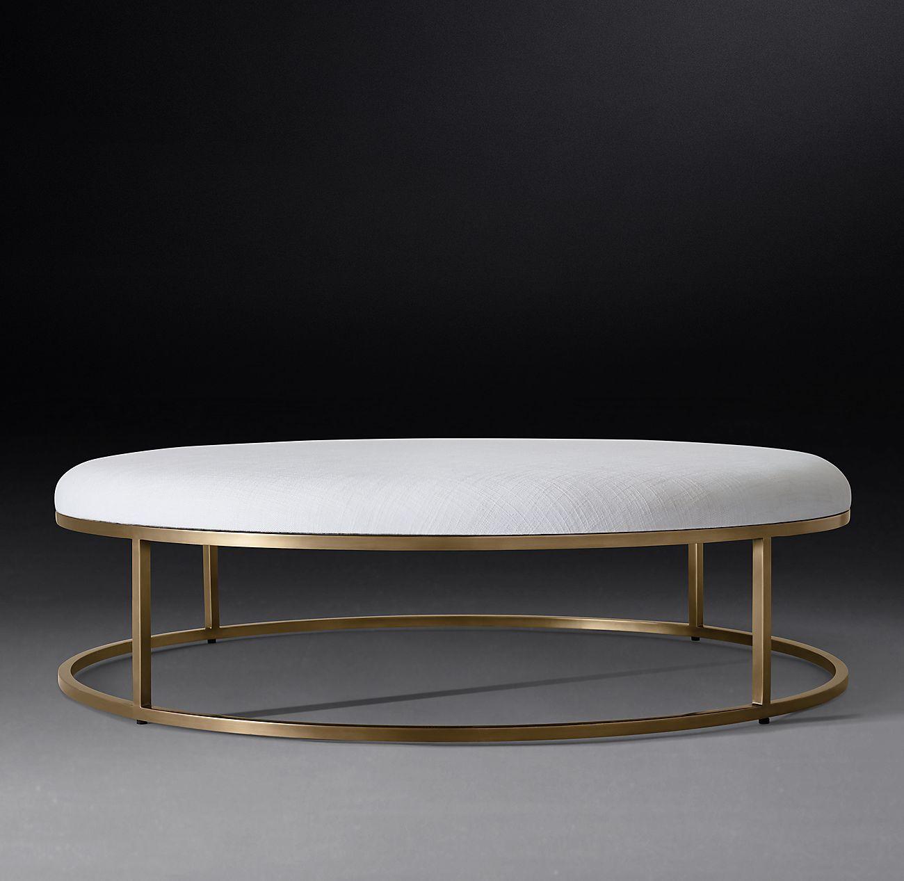 Nicholas Round Fabric Coffee Ottoman Coffee Table Furniture Design Modern Round Ottoman [ 1267 x 1300 Pixel ]