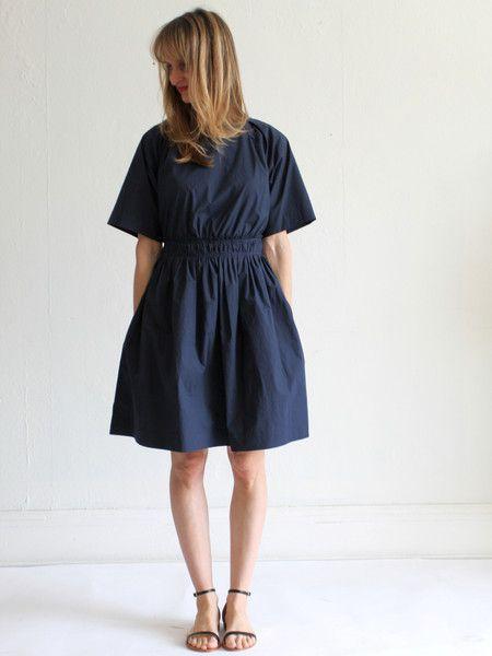Apiece Apart Dia Shirred Day Dress - Midnight