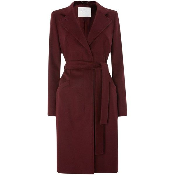 Hugo Boss Clena Wool Stand Up Collar Belted Coat (€455) ❤ liked on Polyvore  featuring outerwear a1f4966e01