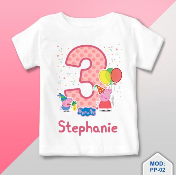 T Shirt Personalized Peppa Pig Birthday Party confetti 61e1022a0