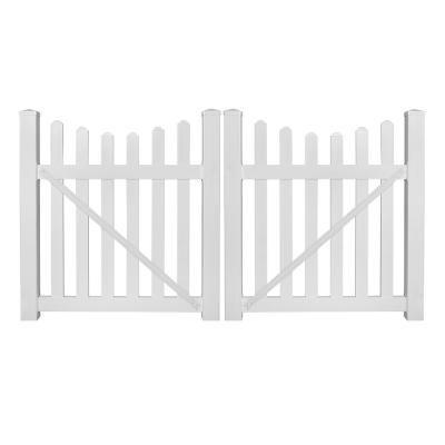 Weatherables Ellington 8 Ft W X 5 Ft H White Vinyl Picket Fence Double Gate Kit Dwpi 3sc 5x48 Grind