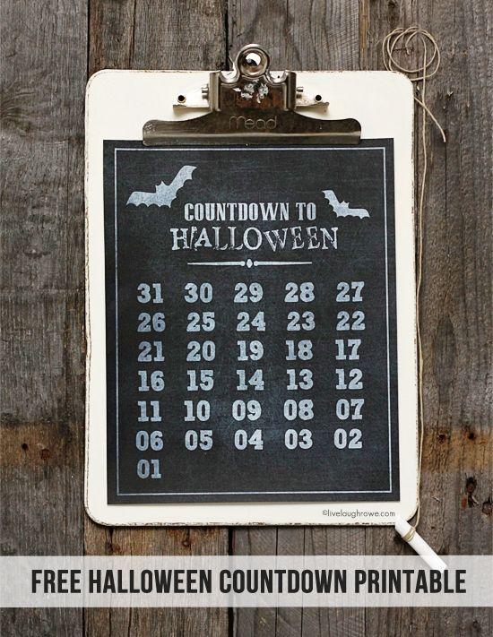 Festive Countdown to Halloween Printable! Use chalk to mark off ...