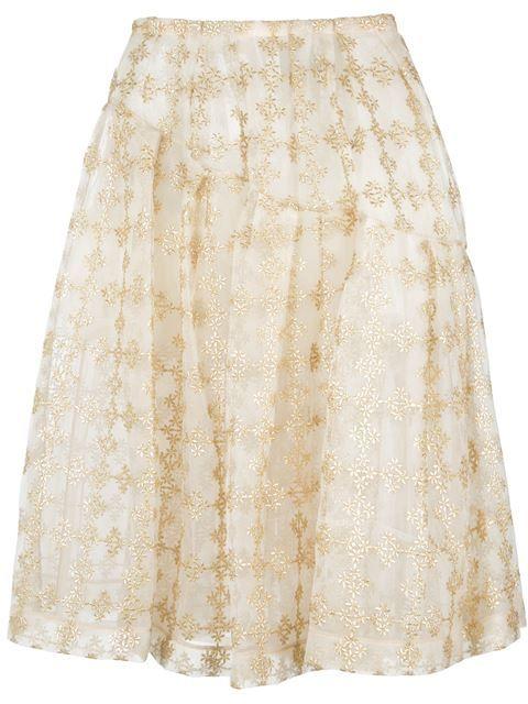 SIMONE ROCHA Embroidered Midi Skirt. #simonerocha #cloth #skirt