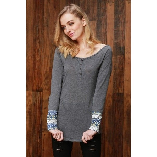 National Wind Print Button Front Knit Tee 891 Liked On