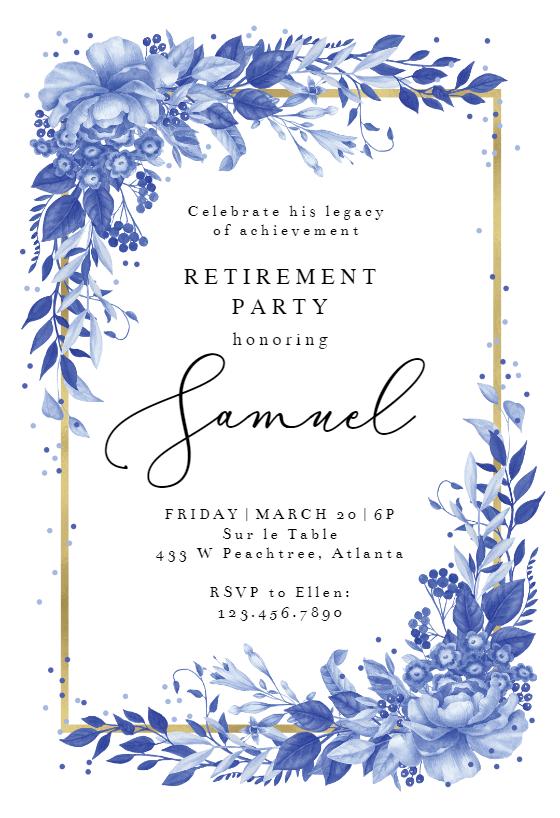 Surreal Indigo Bouquet Retirement Farewell Party Invitation Template Greetings Island Farewell Party Invitations Party Invite Template Invitations