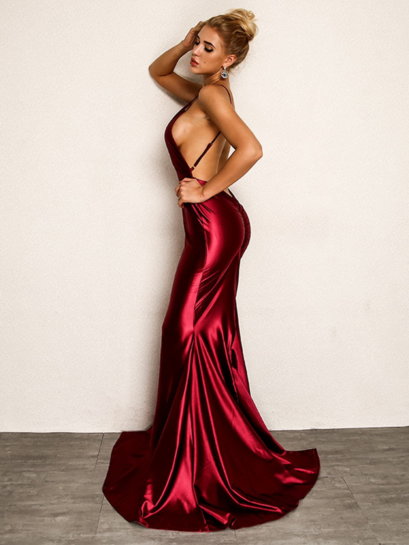 11a88860c673 ... and Ruched Plain Bodycon Mermaid Spaghetti Strap Sleeveless High Waist  Burgundy Maxi Length Plunging Neck Ruched Backless Fishtail Hem Satin Dress