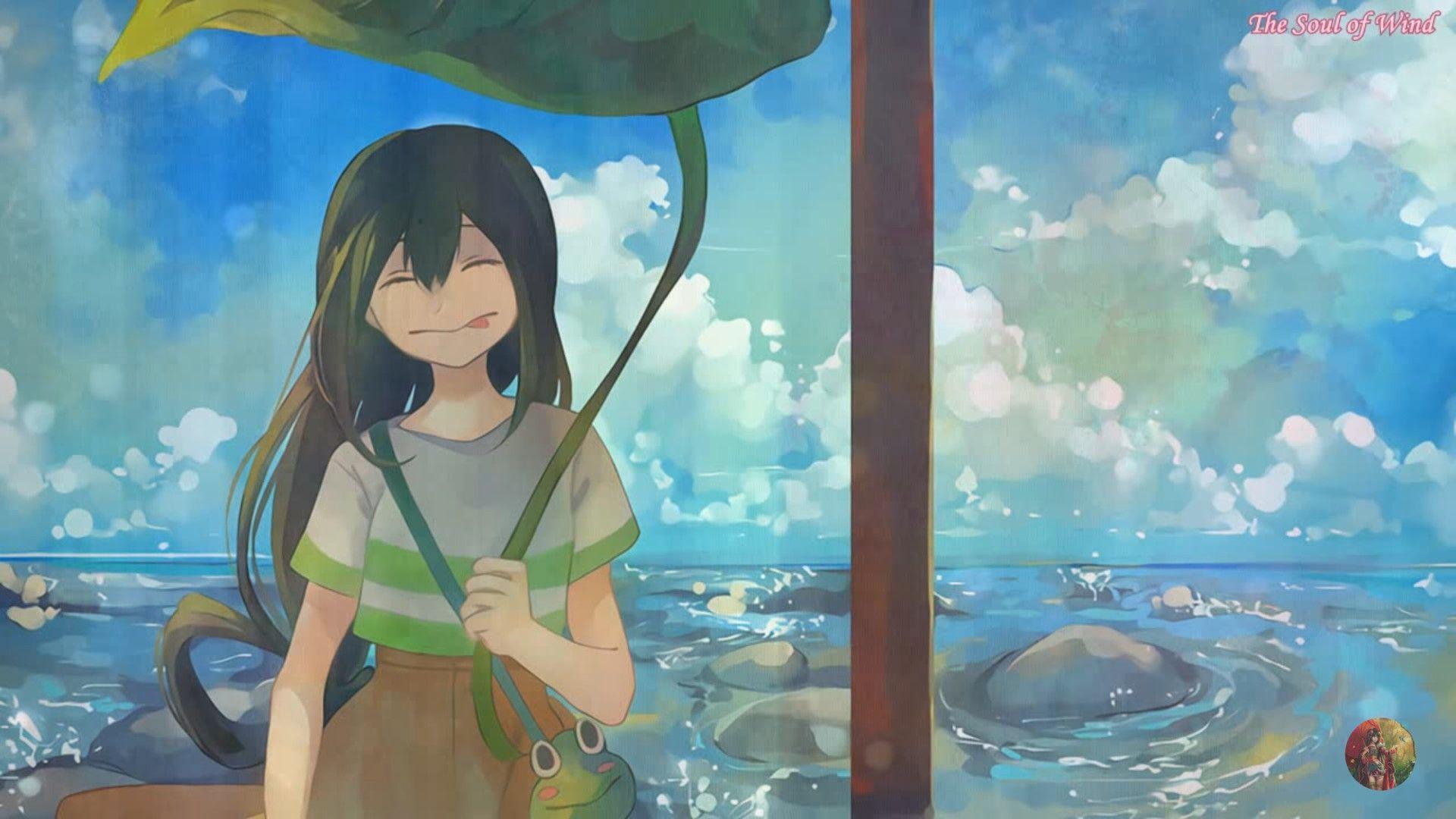 Asui Tsuyu Smiling Water Lillipad Cute My Hero Academia My