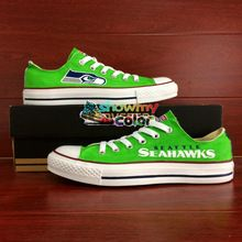 29a41b5aa4a364 Seattle Seahawks Converse Low Top Shoes Custom Hand Painted Canvas All Star Shoes  Converse for Men Women(China (Mainland))