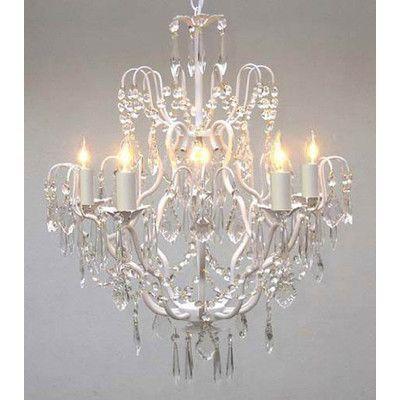 Rosdorf Park Clemence 5 Light White Hardwired Crystal Chandelier Plug In Chandelier Crystal Chandelier Crystal Chandelier Lighting