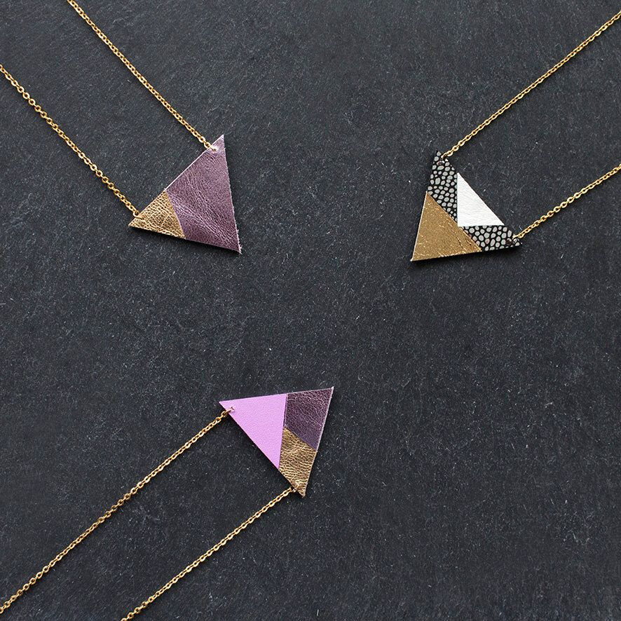 Dainty geometric leather necklace gold steel chain holographic dainty geometric leather necklace gold steel chain holographic charm necklace pink metallic gold mozeypictures Images
