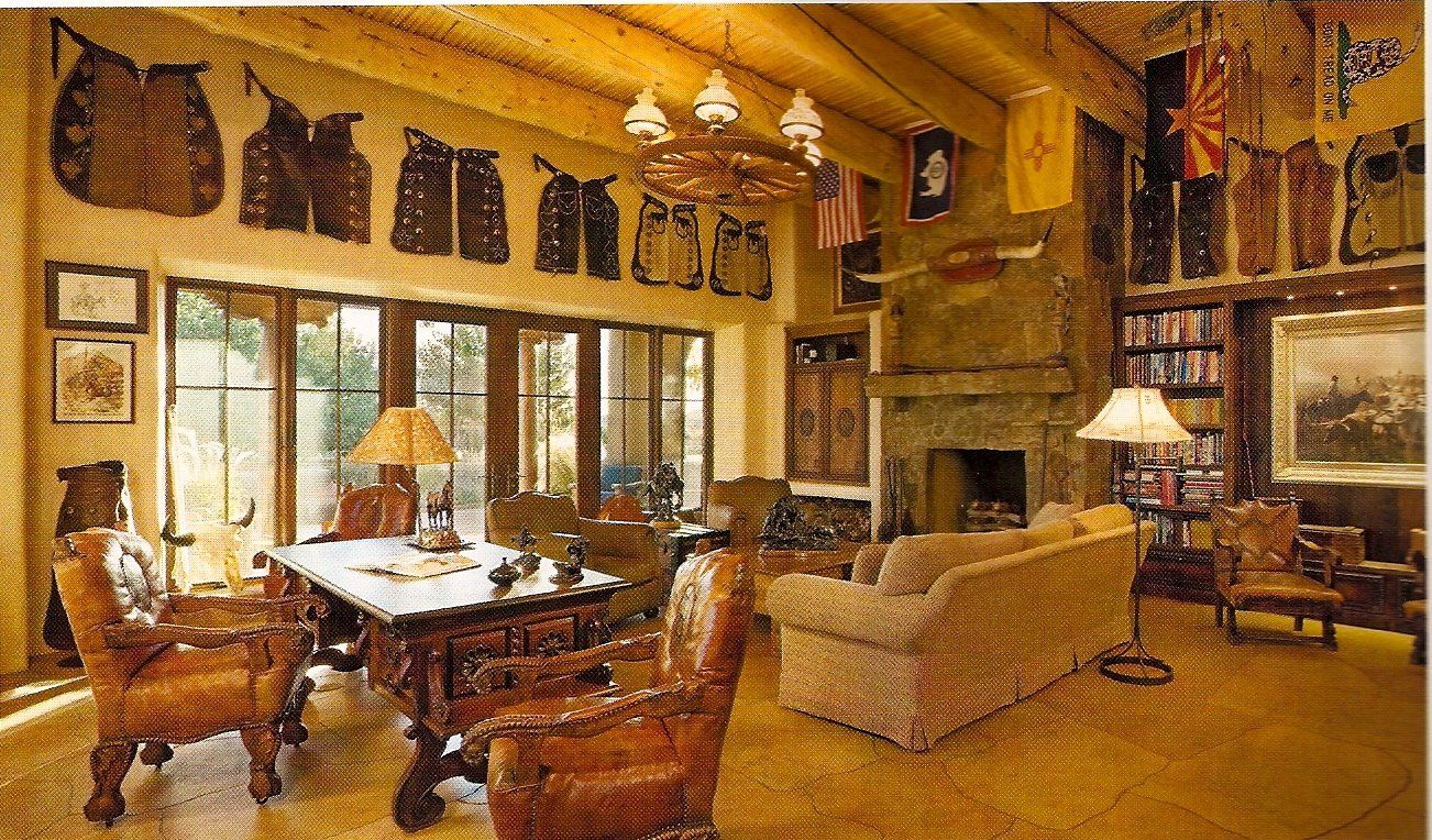 cool western style living room | Cool stuff for a fun western room! Love the chaps, wagon ...