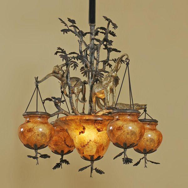 Brass Animal Motif Chandelier With Dark Bronze And Antique Finish Penshell Globes Maitland Lighting Maitlandsmith