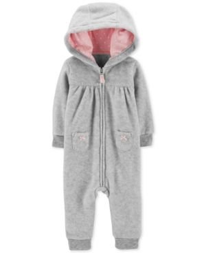 4bebc625c Carter s Baby Girls Heathered Hooded 1-Pc. Jumpsuit - Gray 12 months ...
