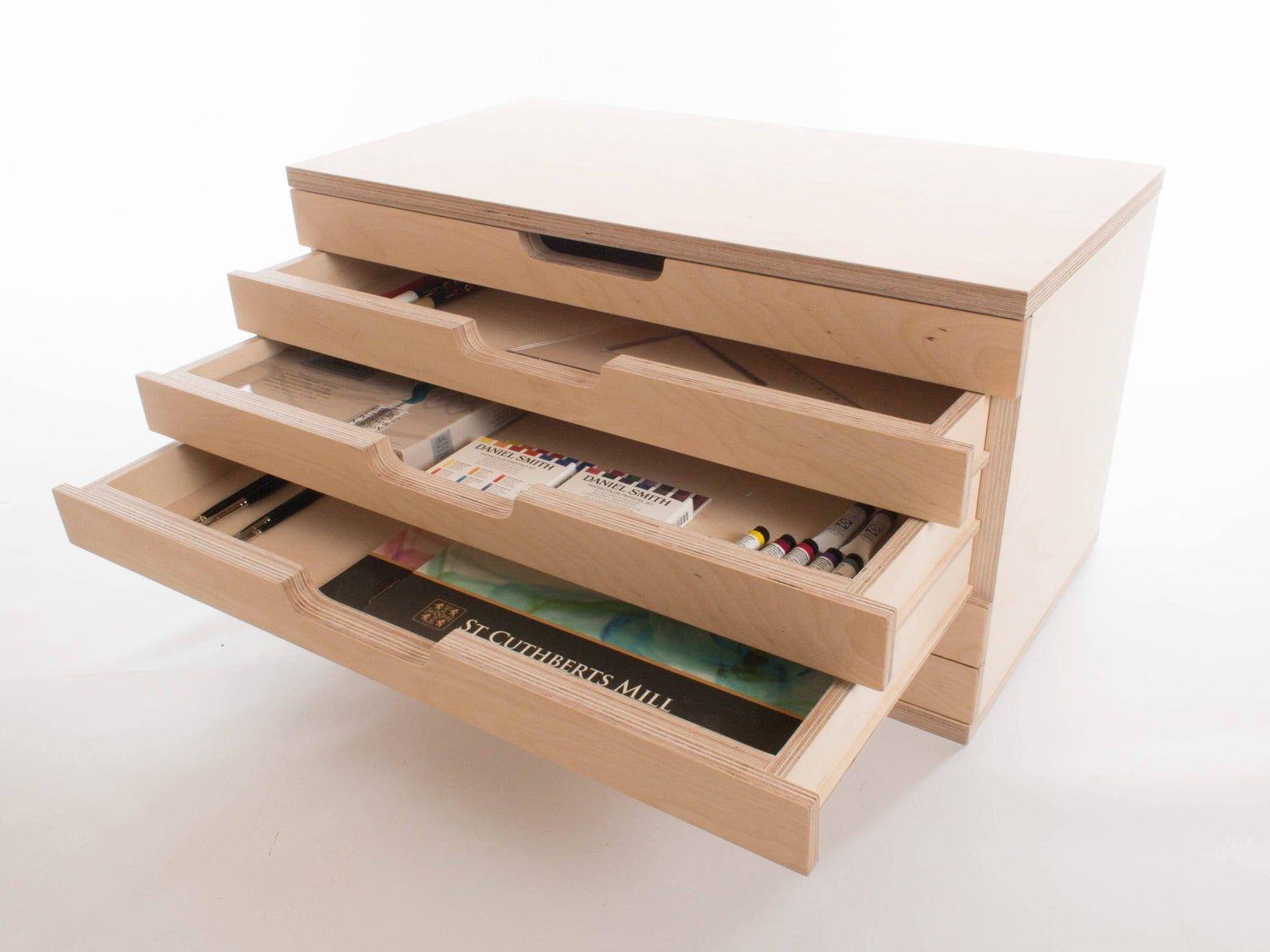 Art box 6 drawers birch plywood craft tool painting