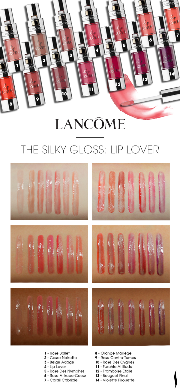 We swatched the shade range of Lancôme Lip Lover on