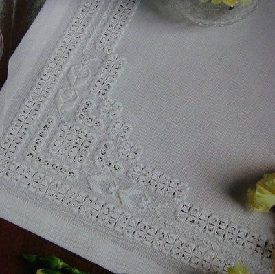 Hardanger Basket   White on White Hardanger Table Topper ~ Hardanger Pattern