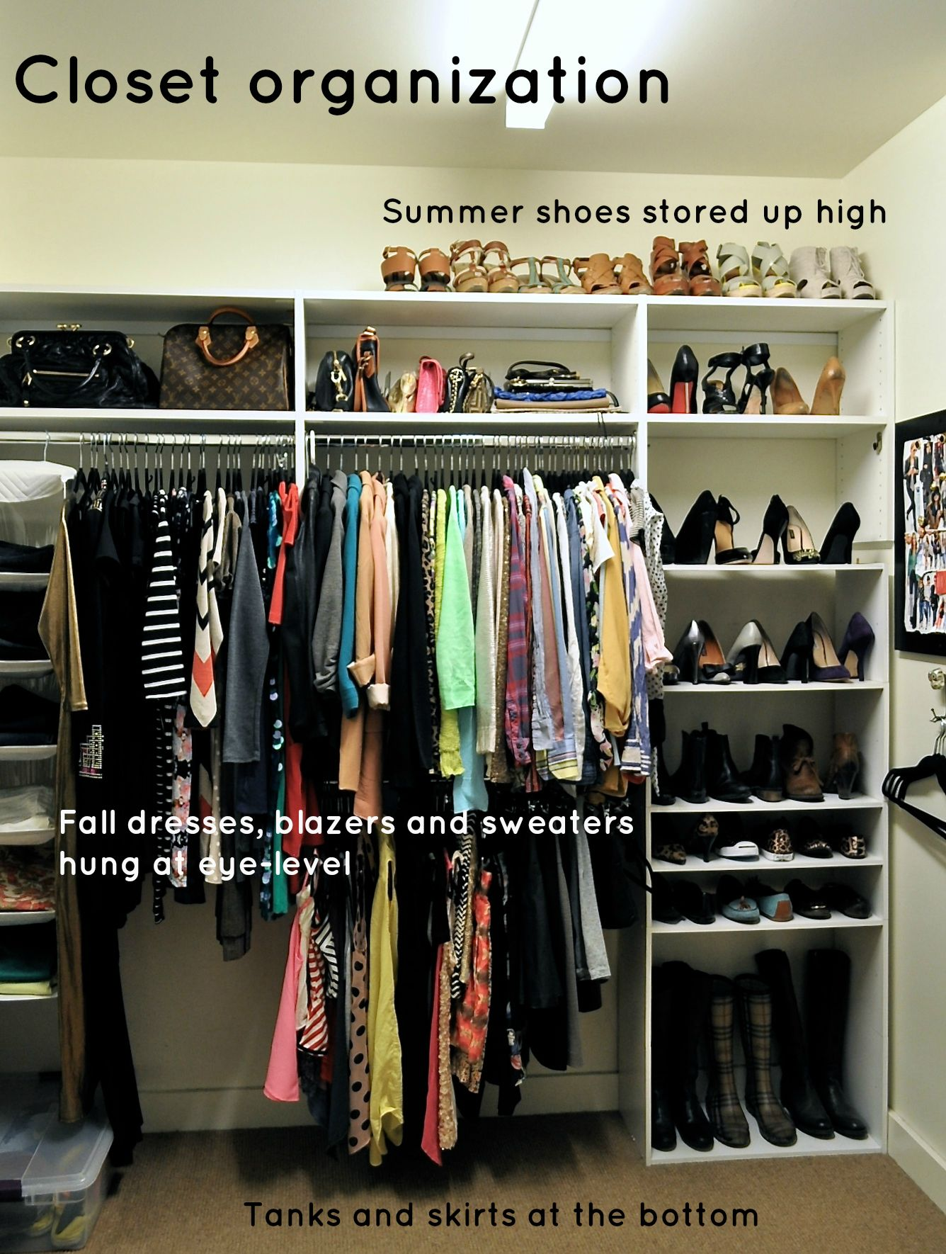 Use the space above hangers you have pretty high ceiling for Organizing ideas for closets