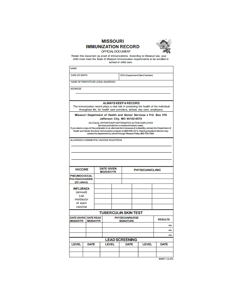 2014 Immunization Record Page 1 Of 2 State Of Mo Forms Info