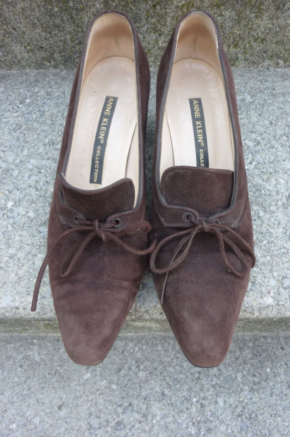 Vintage Anne Klein Collection Shoes Lace Up Brown Suede Chunky Queen ...