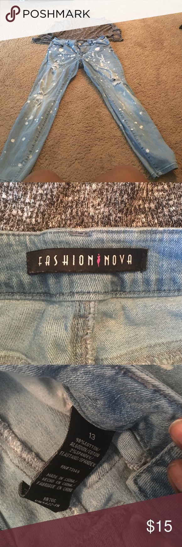 Fashion Nova bleached skinny jeans Great condition , very comfortable , stretchy Fashion Nova Jeans Skinny