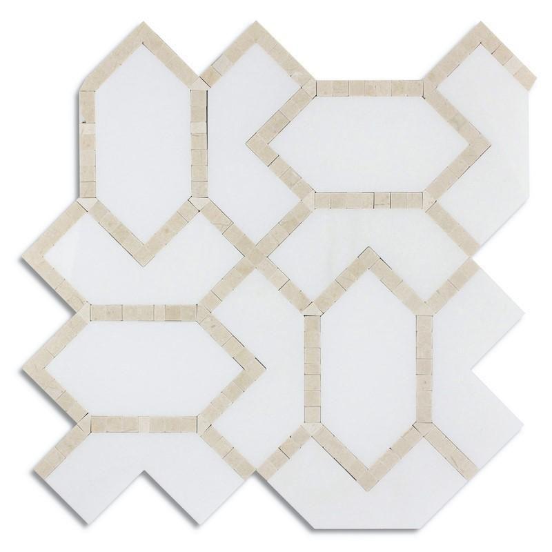 Beige Diamond Thassos Crema Marfil Marble Water Jet Mosaic Priced 1 Sheet 0 87 Sqft Thassos Mosaic Beige Tile