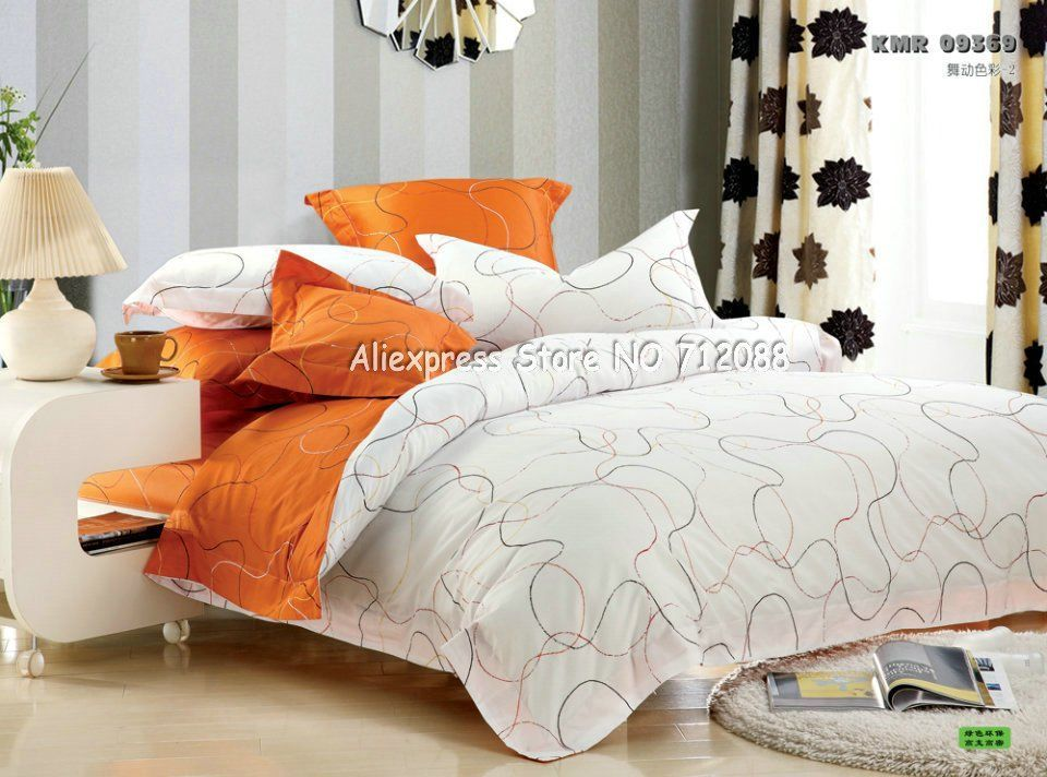 Home design premium cotton orange white line modern pattern duvet quilt covers pc queen bedding sets with sheets textile in from also rh pinterest