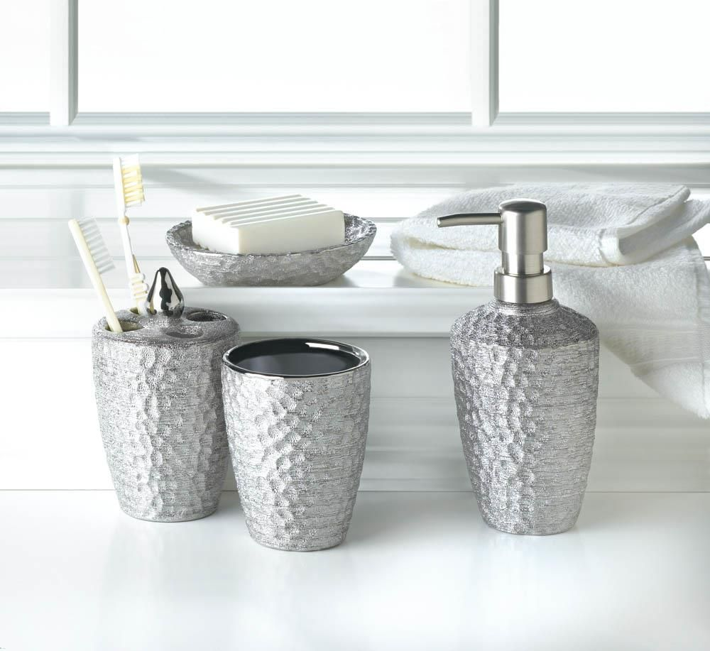 Photo of Hammered Silver Texture Bath Accessories