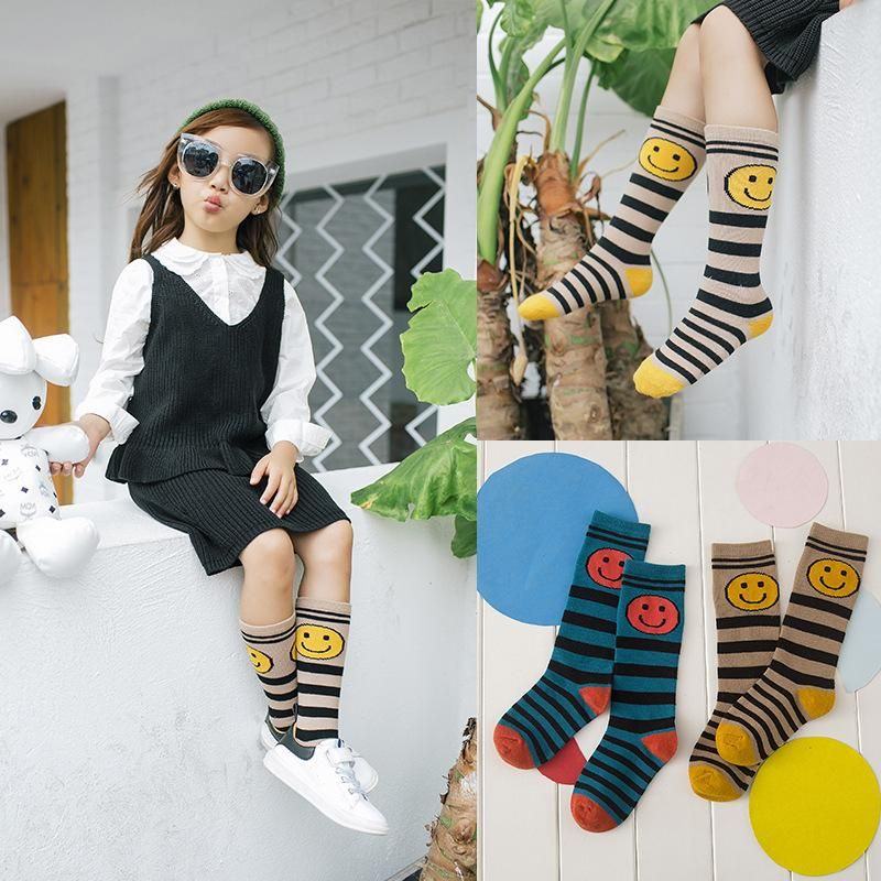 bdfac3d8a8 Bear Leader Baby Socks 2018 New Spring&Winter Stripes Smile Face Cotton  Socks Girls Socks Below Knee