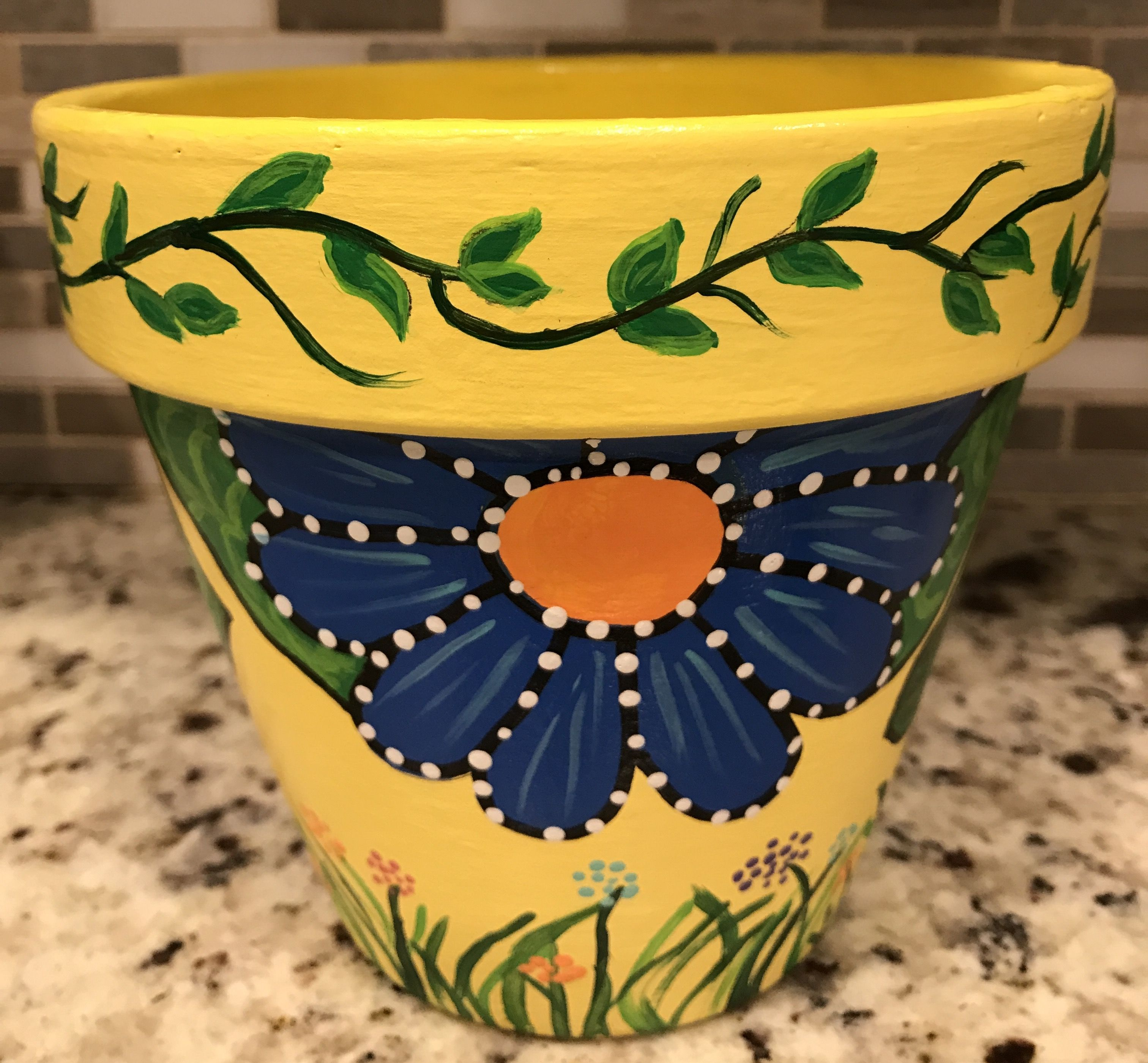 clay pot floral design DIY Terracotta  Decorated flower pots, Clay pot crafts, Painted