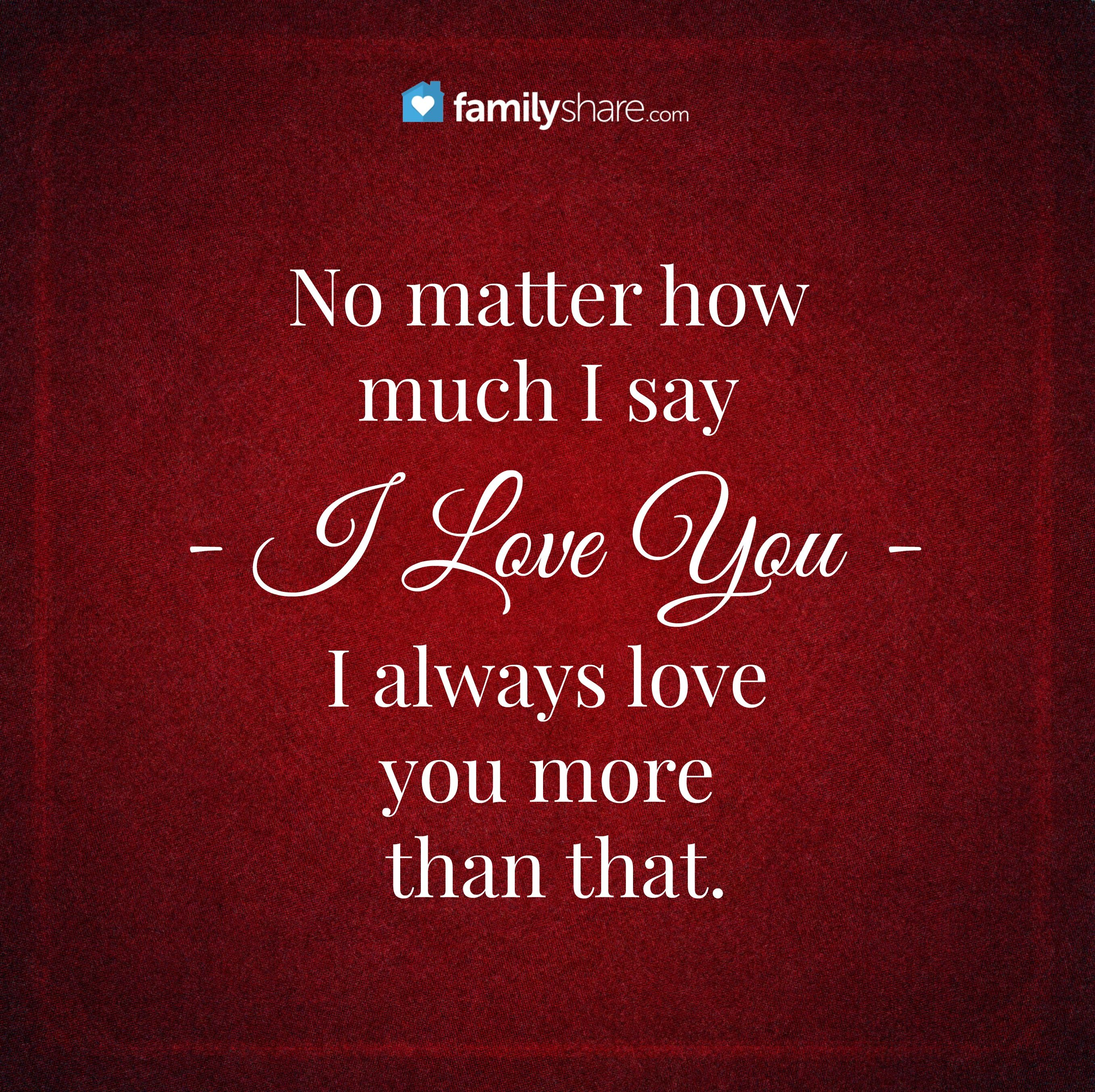 I Love You Quotes: No Matter How Much I Say I Love You, I Always Love You