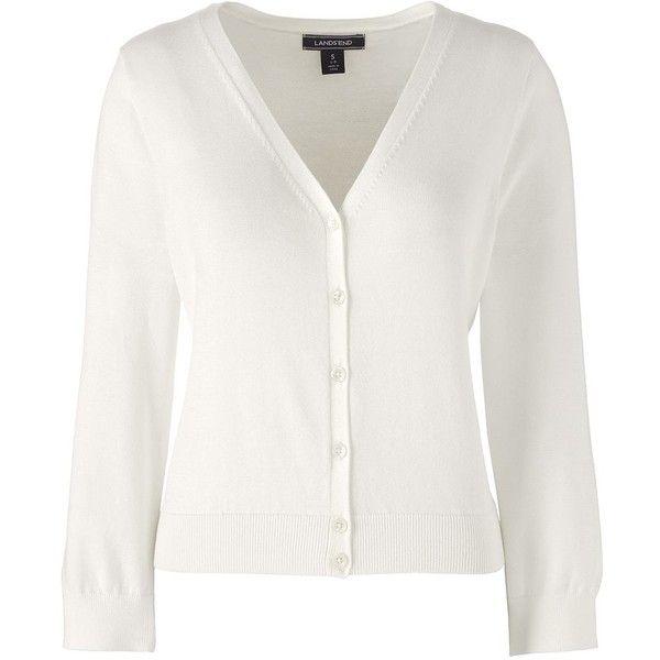 Lands' End Women's Petite 3/4 Sleeve Supima Dress Cardigan Sweater ...