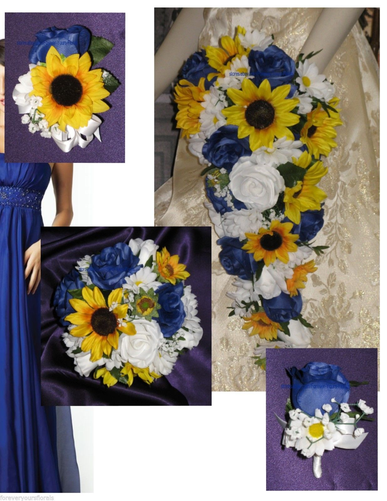 Country Wedding Sunflowers & Blue Bridal Bouquet & Bridal