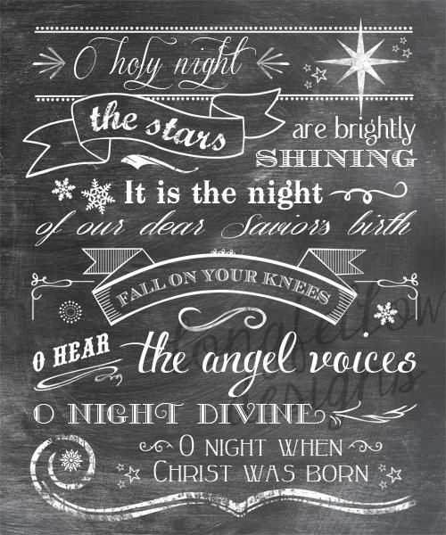 O Holy Night - lyrics - Vertical Print - Typography Art - Christmas - Full Lyrics or Shortened ...