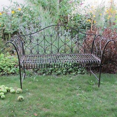 Garden Furniture Shabby Chic Metal Bench Vintage Brown Bench Outdoor Seat Garden Bench Steel Bench Metal Garden Benches