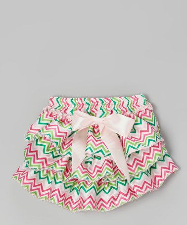 Another great find on #zulily! Pink & Green Zigzag Bow Diaper Cover - Infant & Toddler #zulilyfinds