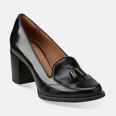 Tarah Rosie Black Leather - Clarks Womens Shoes - Womens Heels and Flats -  Clarks -