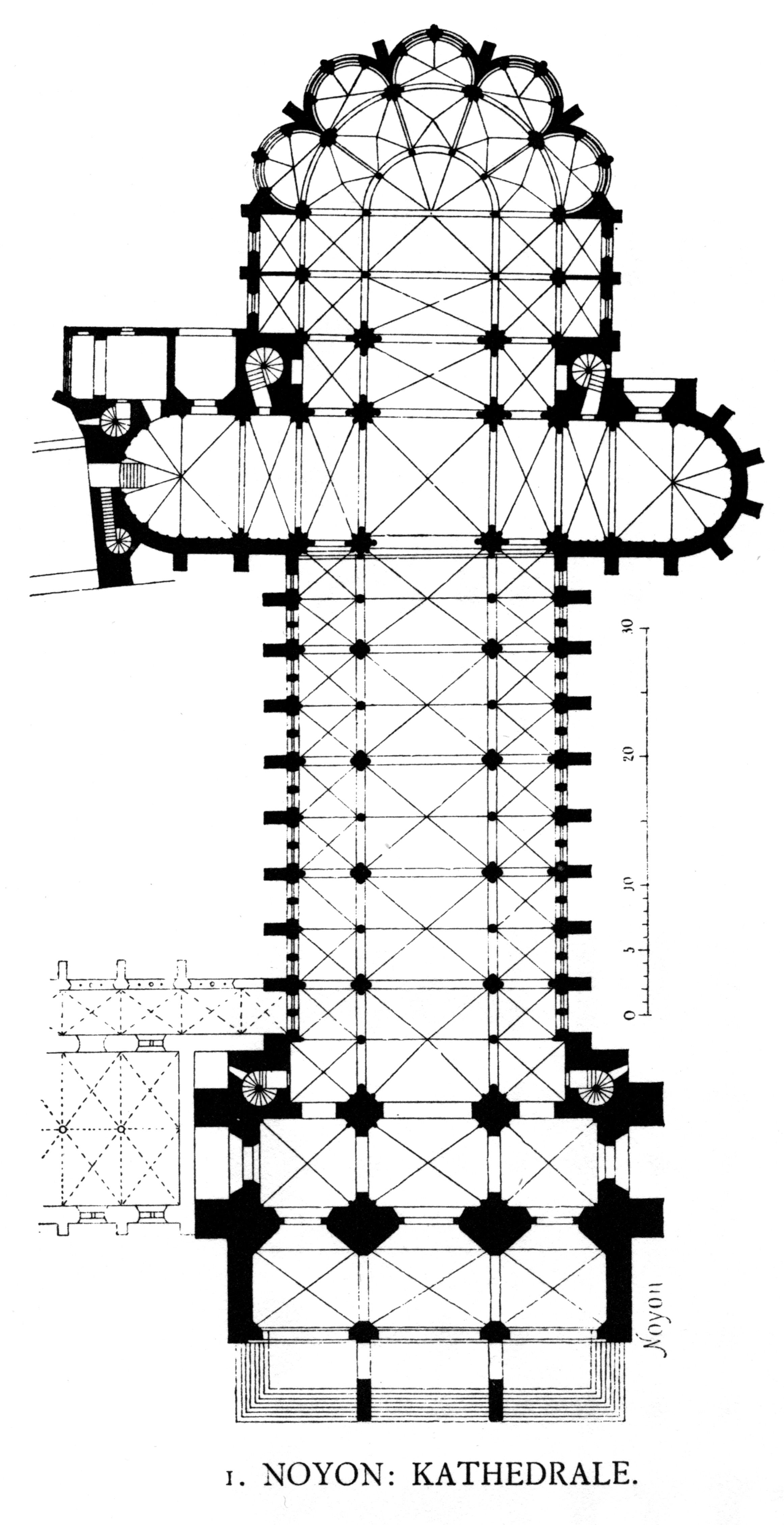 French Gothic Noyon Cathedral Plan Noyon Gothic Architecture Cathedral