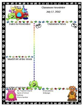 Monster Themed Classroom Newsletter Template  Editable