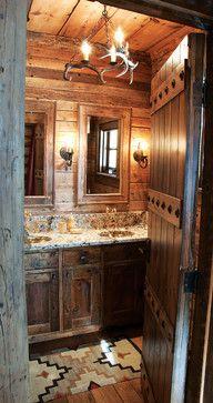 Rustic Bathroom, Lone Moose Lodge, Lohss Construction.
