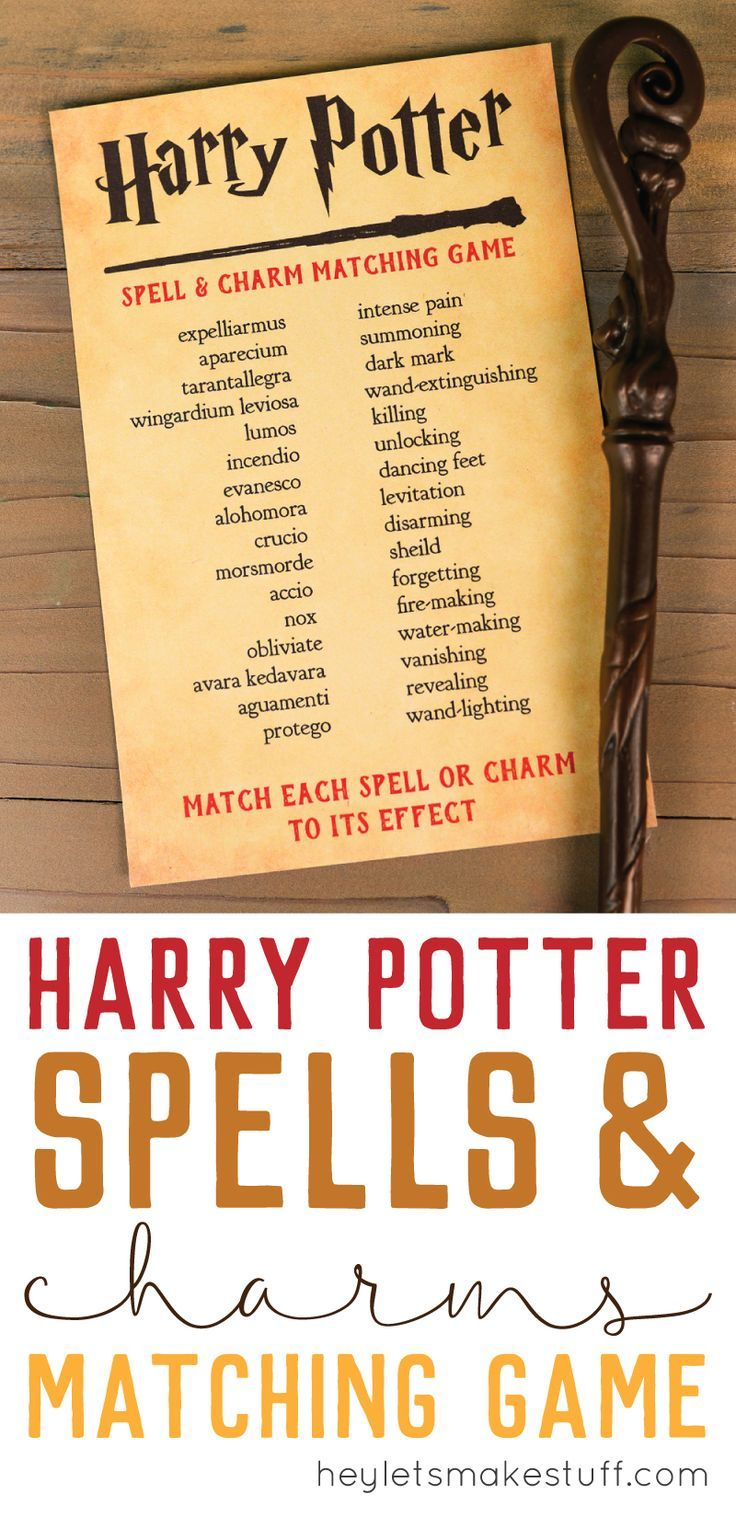 Harry Potter Spells and Charms Matching Game   Harry potter spells ...