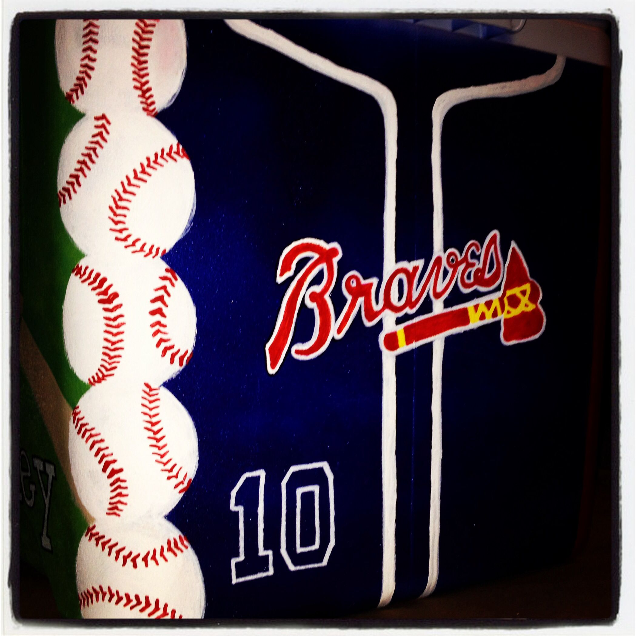 Atlanta Braves Inspired Baseball Painted Cooler Cooler Painting Formal Cooler Ideas Fraternity Coolers