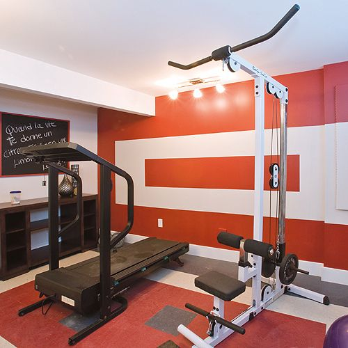 Awesome home gym like the unique paint job and how bright this