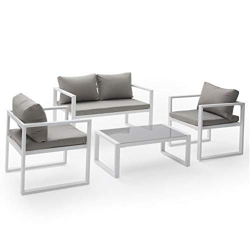 Salon de Jardin Ibiza en Tissu Gris 4 Places - Aluminum Blanc ...
