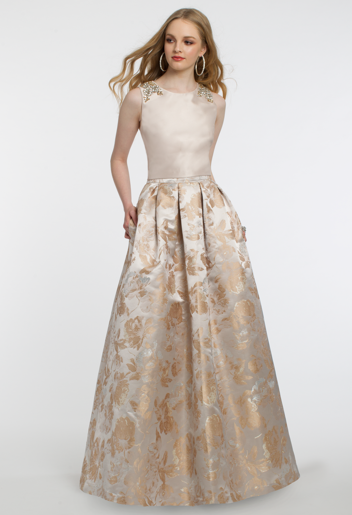 Shine for you special event in this brocade ballgown skirt! With its ...