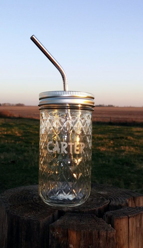 Mason Jar Tumbler Stainless Steel Straw Personalized 12oz To